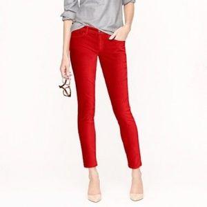 J. CREW Red Velvet Ankle Toothpick Skinny Jeans